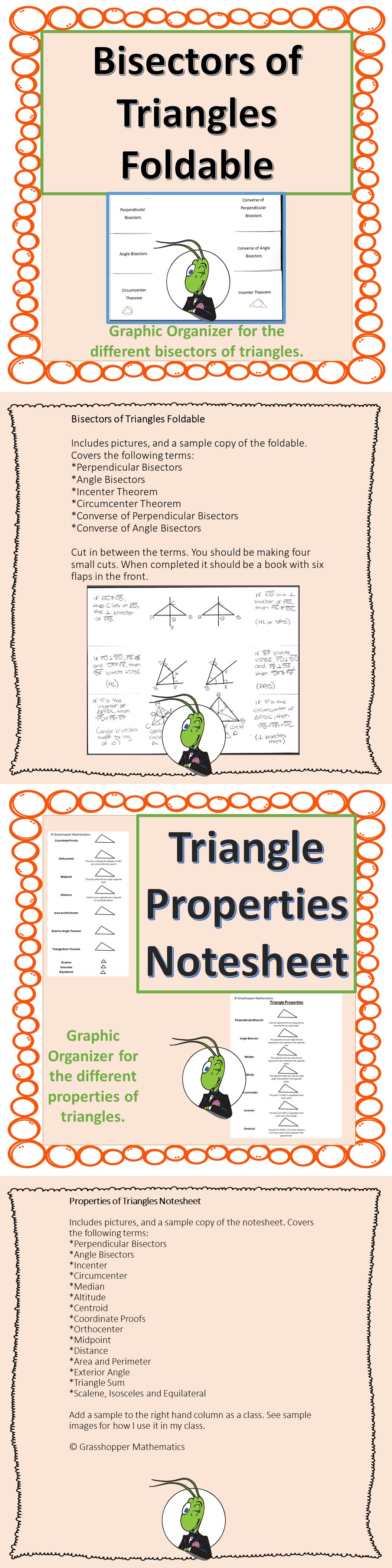Triangle Properties Notesheet Foldable Graphic Organizer