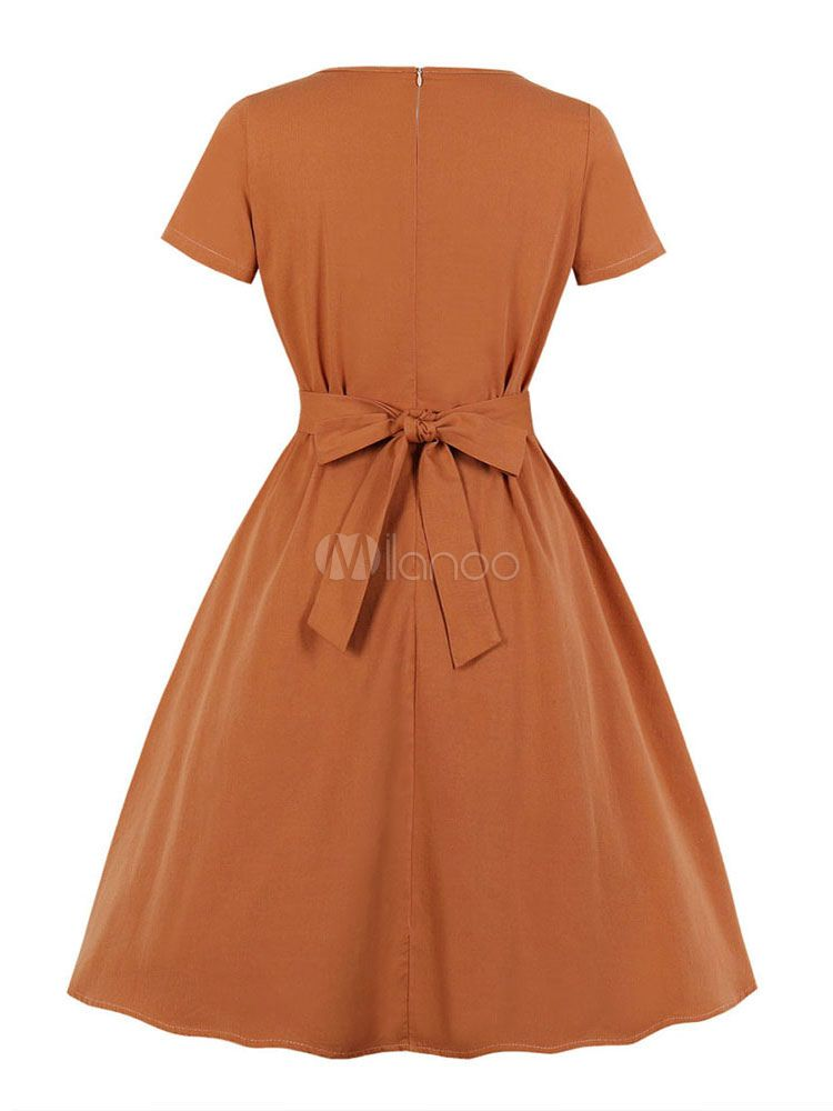 Vintage Dress 1950s Orange Leaf Pattern Embroidered Short Sleeves Midi Dress Sponsored Orang Midi Short Sleeve Dress Vintage 1950s Dresses Minimalist Fashion