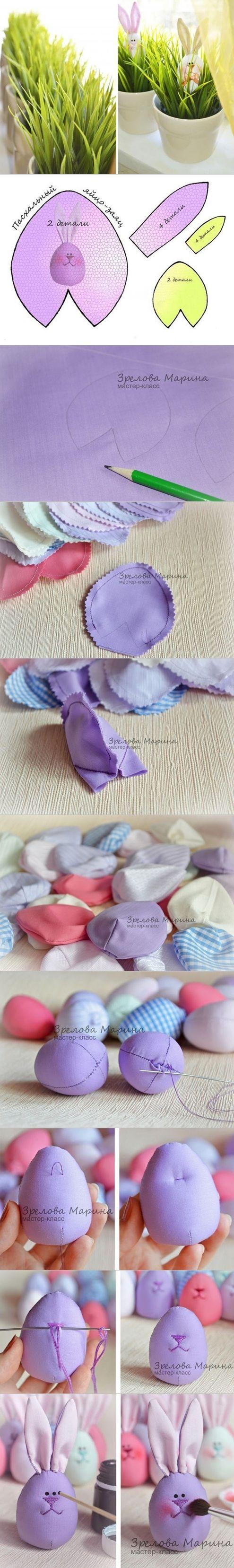 DIY Cute Fabric Egg Bunny | www.FabArtDIY.com LIKE Us on Facebook ==> https://www.facebook.com/FabArtDIY
