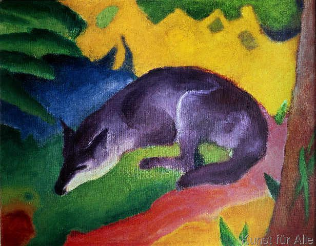 Franz Marc Black And Blue Fox Art Print Canvas On Stretcher Framed Picture Franz Marc Fox Art German Expressionist