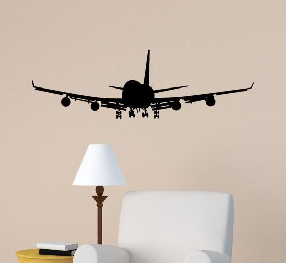 Airplane wall decal jet airliner sticker aircraft jumbo boys bedroom decor office college dorm also vintage planes and set  pinterest rh