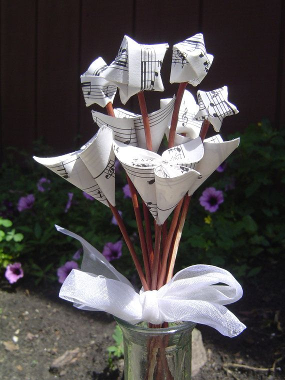 MINI Sheet Music Bouquet. Origami Paper Flowers by TreeTownPaper