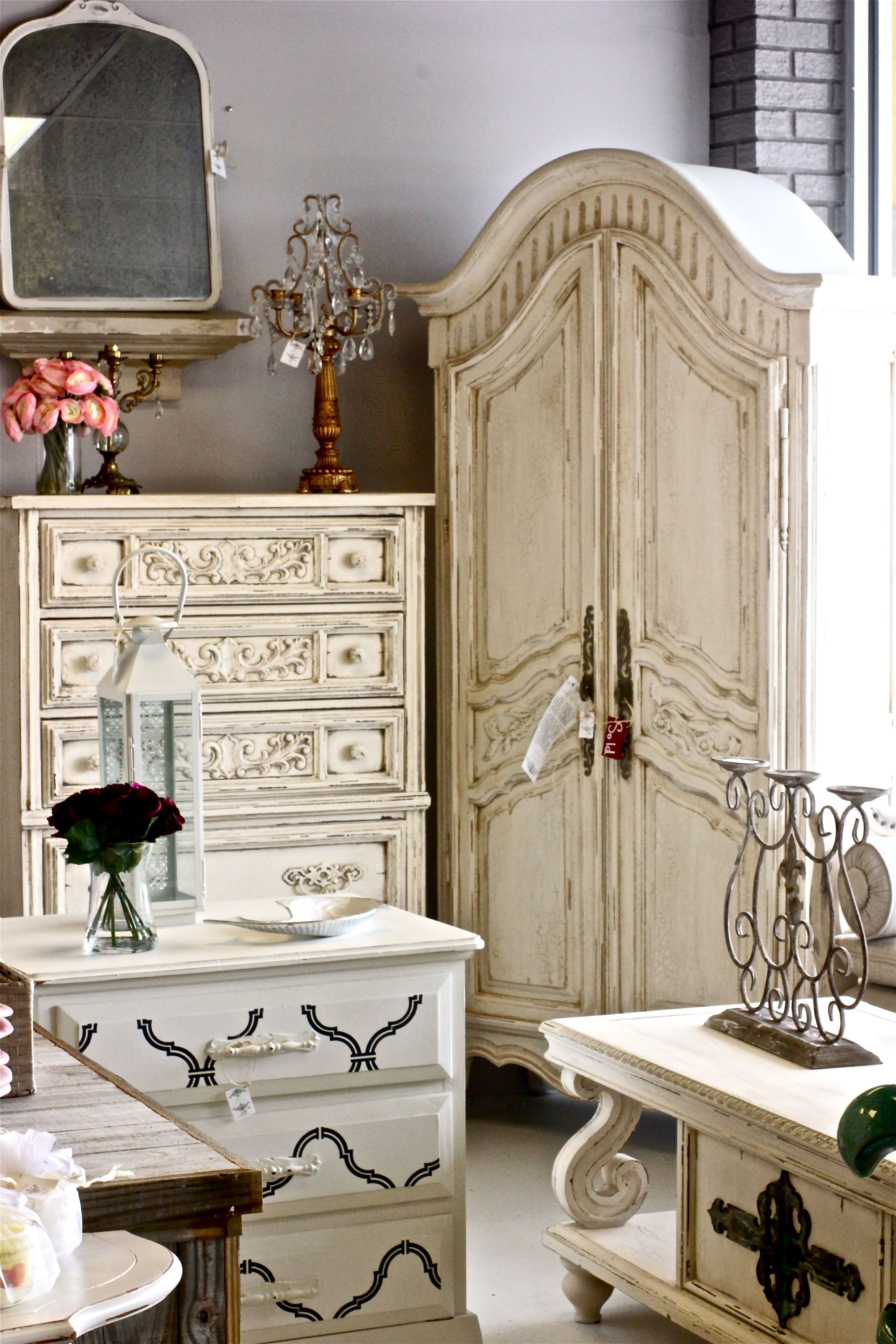 French Provincial highboy dresser, armoire, chest of