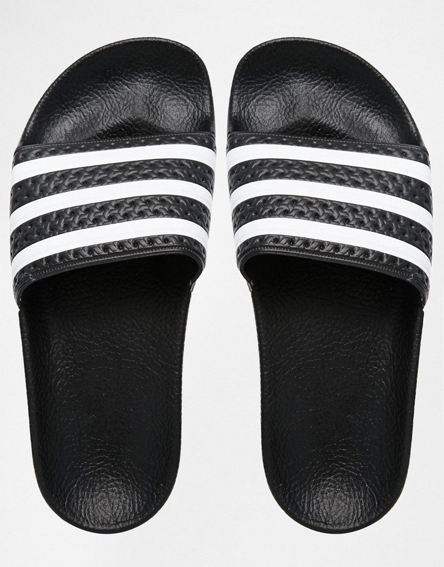 d2198f3cdf43a0 Image 3 of adidas Originals Adilette Black   White Stripe Slider Sandals