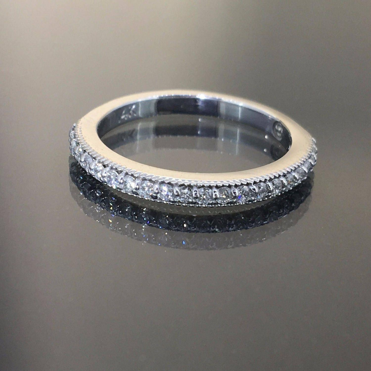 Gorgeous 14k White gold Natural round cut Diamond Pave set Ring fancy band .45ct by crystalanchor on Etsy