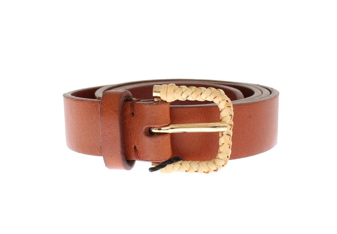 d972477fb Dolce & Gabbana Brown Leather Gold Buckle Logo Waist Belt | Products ...