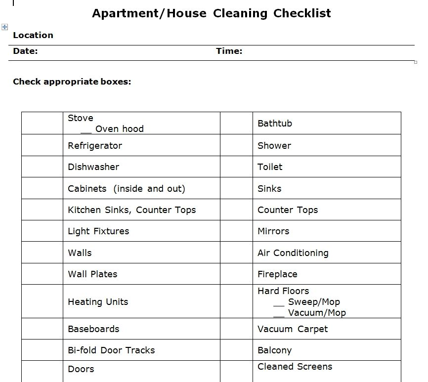 Apartment Cleaning Checklist Word Template Templates And Designs