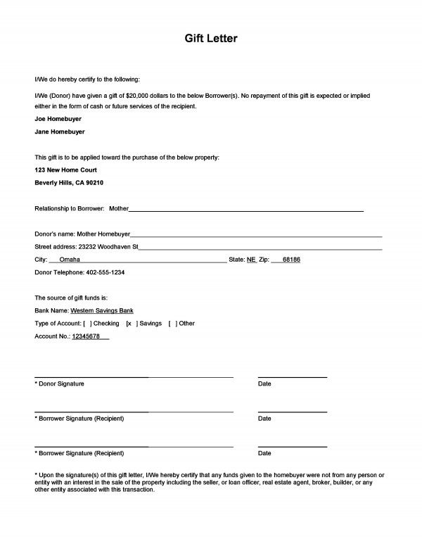 Download a Sample Gift Letter Form First-Time HOME BUYERs - agreement form sample