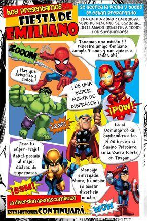 Kikita Manualidades Invitación Superhéroes Invitaciones