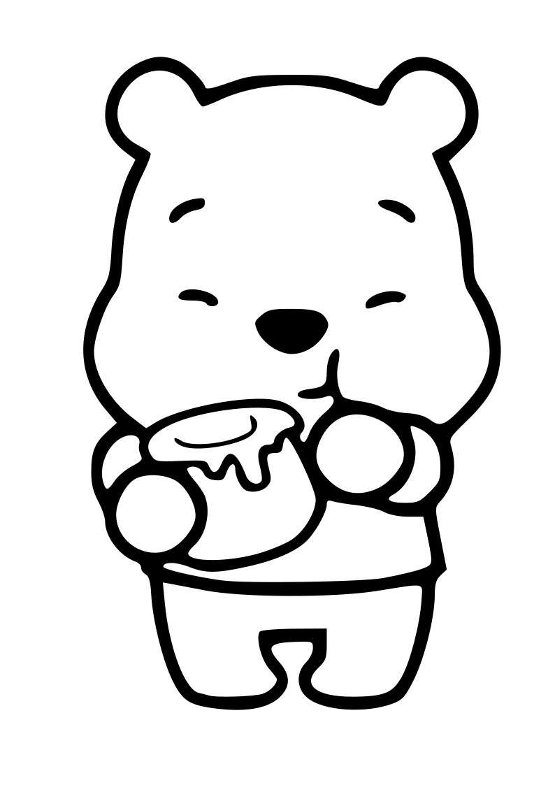 Winnie The Pooh Kawaii Coloring Page To Print And Color Easy Cartoon Drawings Easy Disney Drawings Winnie The Pooh Drawing