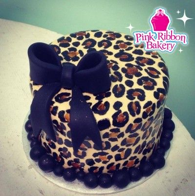 Cheetah Print Birthday Cake Pink Ribbon Bakerys Custom Creations