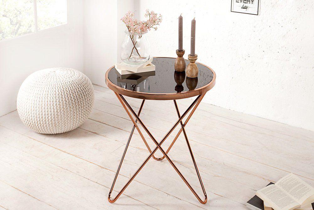 Stylischer Design Beistelltisch ORBIT 55cm Kupfer Schwarz Tisch Wohnzimmertisch Glastisch Amazonde Kche