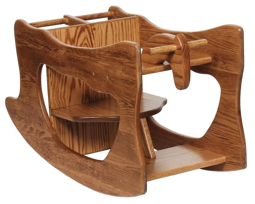amish hardwood three in one highchair rocker and desk wide size