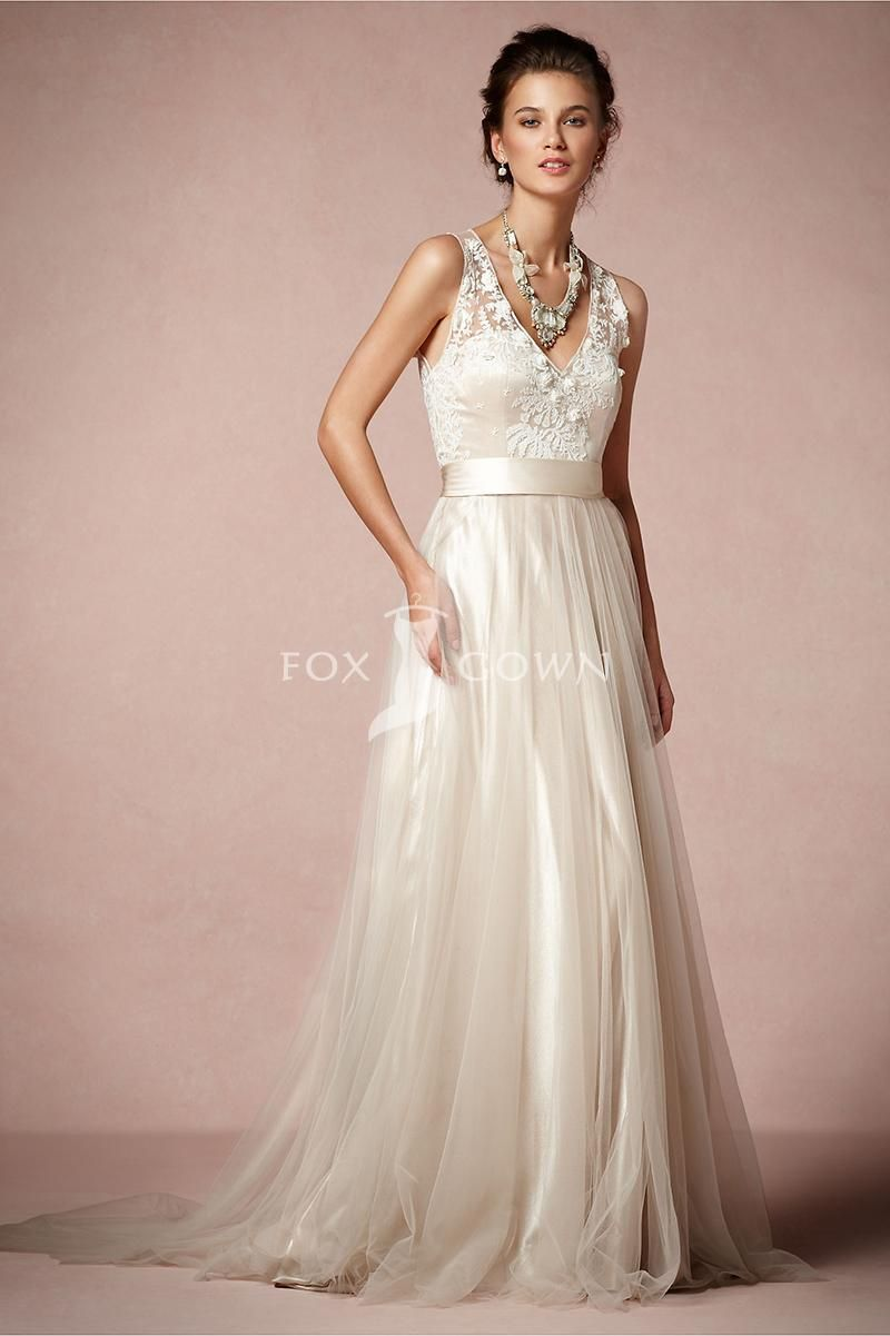 A line deep v neck wedding dress with embroidered roses for Tulle a line wedding dress