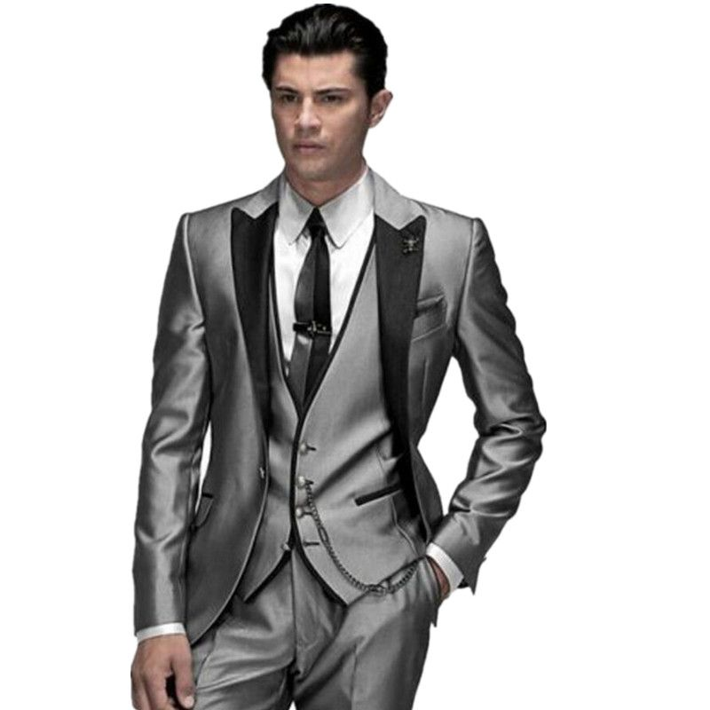 Free Shipping] Buy Best Custom Made Fashion Shiny Silver 3 Piece ...