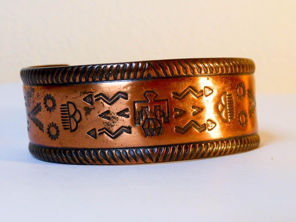 Vintage native american southwest copper cuff bracelet navajo vintage native american southwest copper cuff bracelet navajo symbols fits small wrist by gemstonecowboy on etsy buycottarizona Images