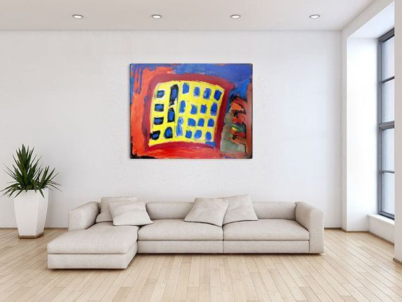"""Abstract  Acrylic Painting on Canvas  Rectangle Colorful Abstract Red Yellow Blue  House Warming Gift Wall Decor Gift  """"Work Time"""""""