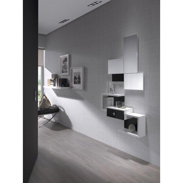 Conjunto de entrada con espejo y mueble con cajón. Varios colores a ...