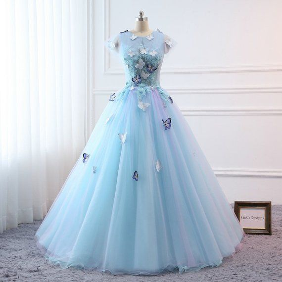 1f71c39737f Prom Ball Gown Plus Size Long 2018 Women Formal Dresses Sky Blue Butterfly  flower Quinceanera Dress in 2019