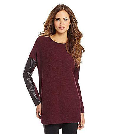 Gianni Bini Melanie FauxLeatherSleeve Tunic Sweater #Dillards