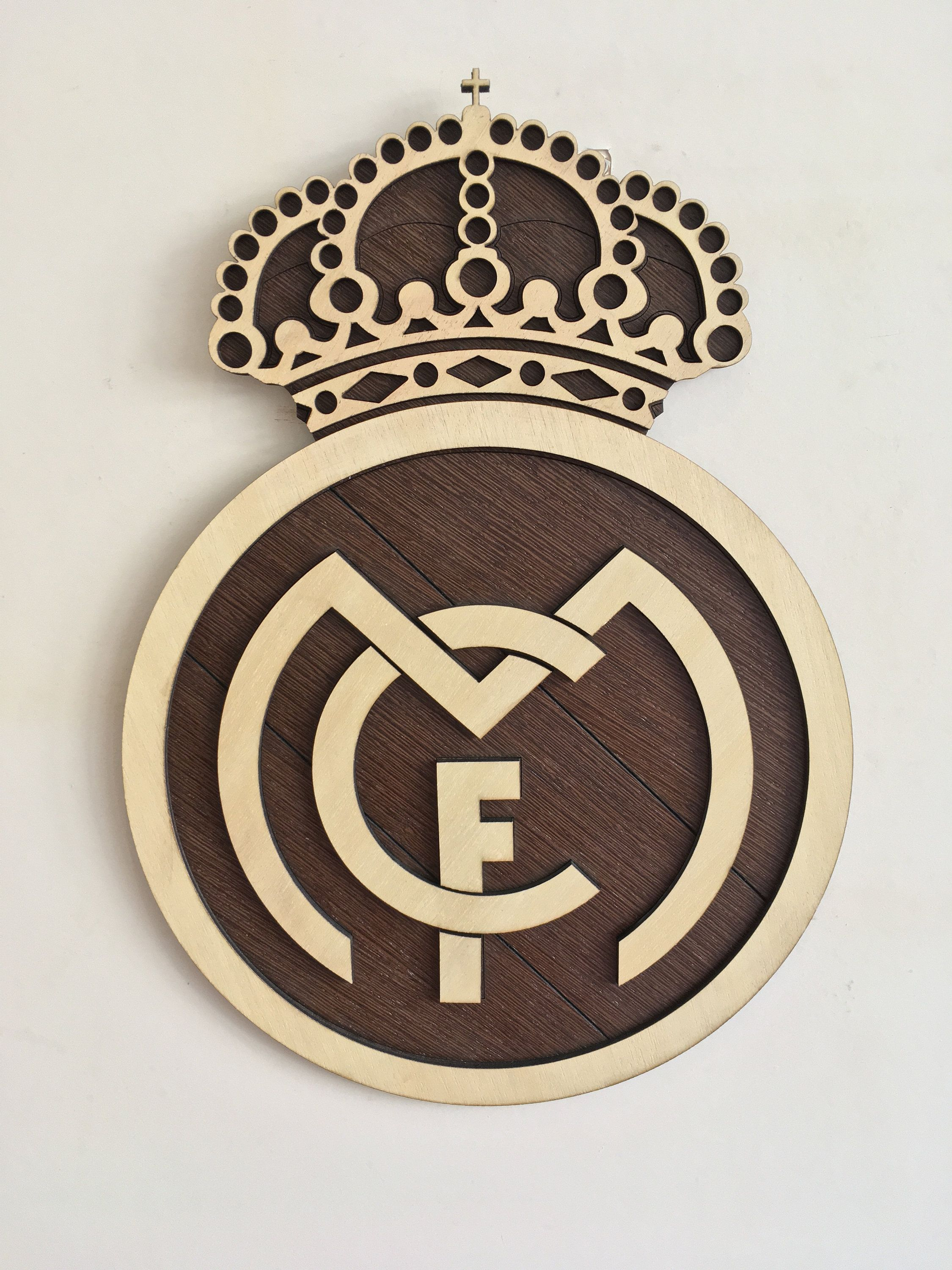 Wooden Football Logo Real Madrid F C By Woodenlogos On Etsy Real Madrid Real Madrid Crest Real Madrid Logo