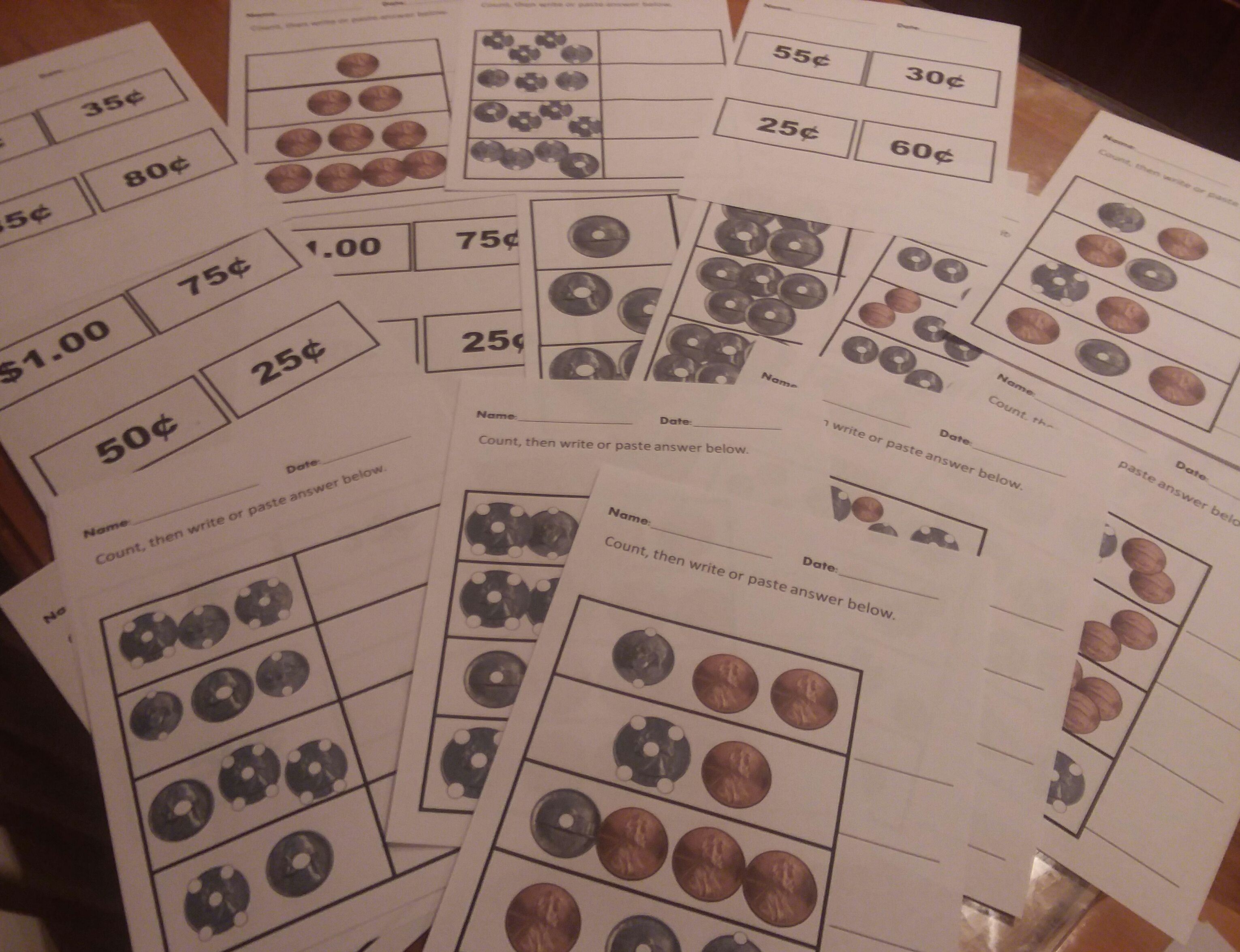 Touch Money Worksheets