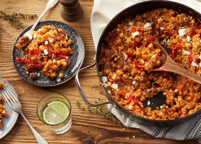 Auberginen-Reispfanne mit Feta #vegetariandish