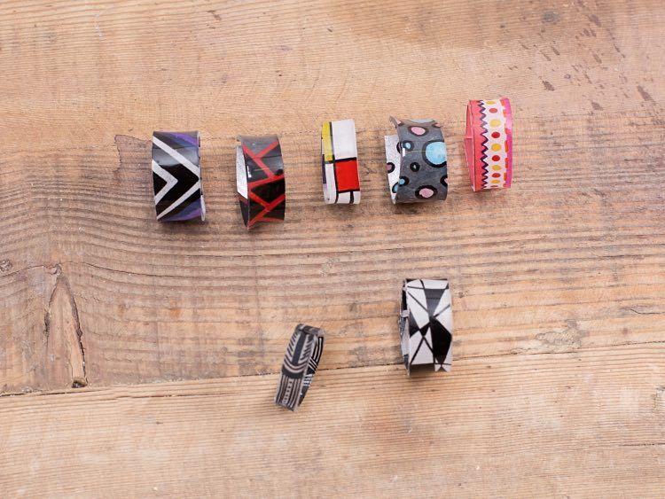 diy anleitung ringe aus schrumpffolie selber machen via schmuck pinterest. Black Bedroom Furniture Sets. Home Design Ideas