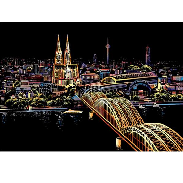 Scratch Painting DIY Craf Tower Bridge Montessori Drawing Board t Cologne Cathedral Colorful Graffiti Art Toys 1 Set Taj Mahal Scraping Paper Gift Amusement Park Night Magic Postcard
