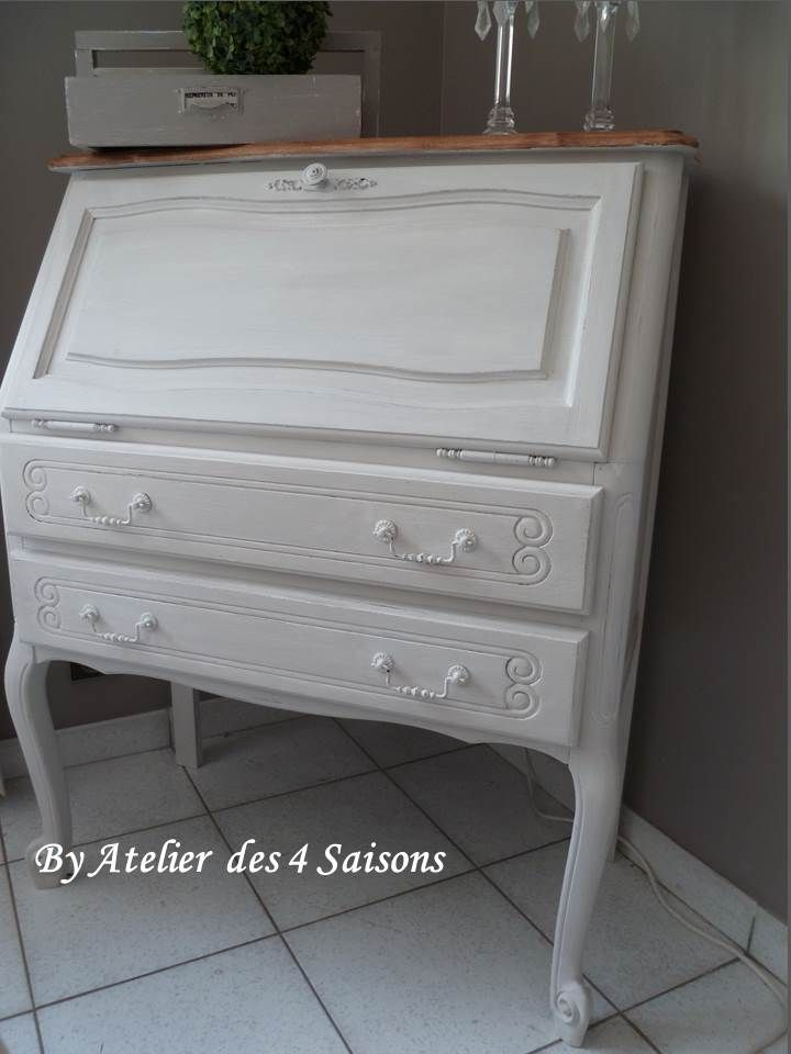 Secrétaire style Louis XV en chêne patiné gris perle blanc poudré - Renovation Meuble En Chene