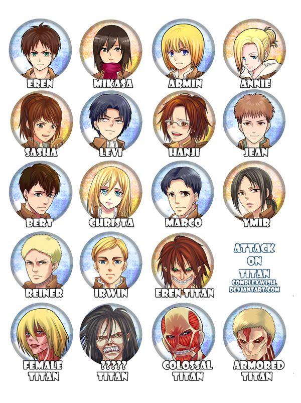 Персонажи из атаки титанов с именами все