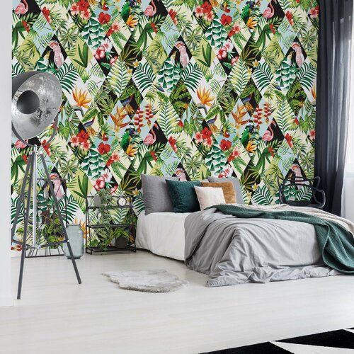 Modern Tropical Pattern 3 <a href=http://2.54m/>2.54m</a> x <a href=http://1.84m/>1.84m</a> Semi-Gloss Wall Mural Brayden Studio