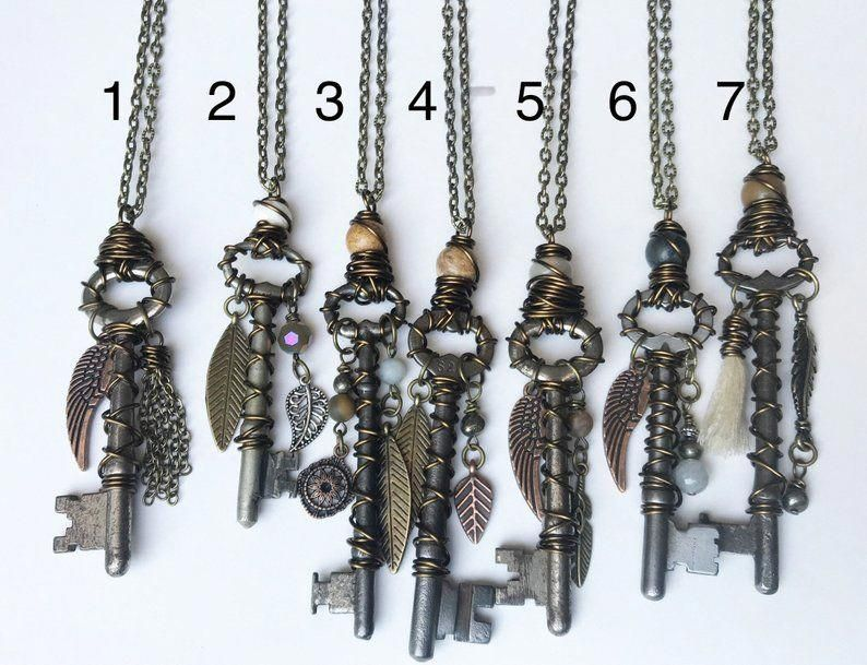 Skeleton Key Necklace  Skeleton Key Jewelry  Repurposed Jewelry  Upcycled Jewelry  Vintage Necklace  Vintage Jewelry is part of Skeleton key jewelry, Mens jewelry, Diy necklace, Key necklace diy, Jewelry, Birthstone jewelry - One of a kind hand wire wrapped vintage Skeleton key necklace with charms!  Please choose feom picture which one you would like!  Convo me with any questions!