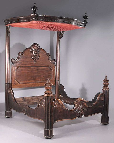 Modern Mahogany Bedroom Furniture: An American Rococo Carved Mahogany Half Tester Bed