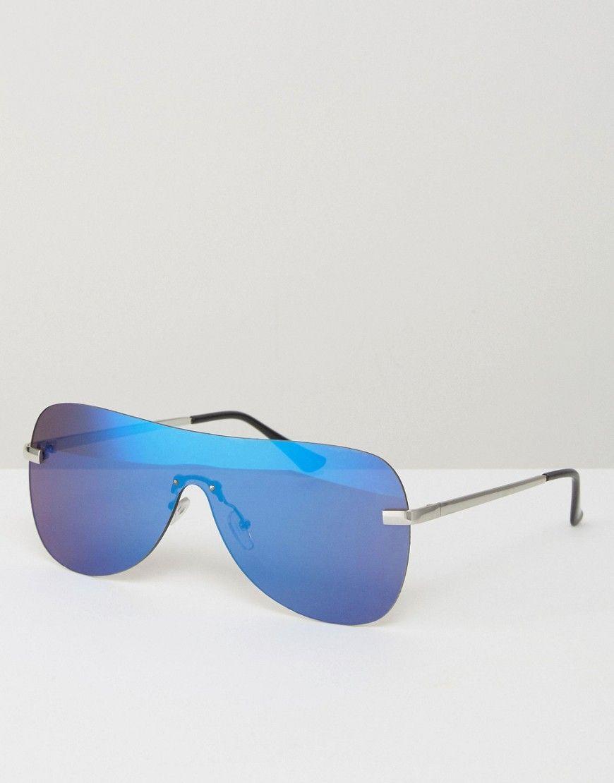 32876942ecf7d ASOS Retro Visor Sunglasses With Blue Flash Lens - Silver