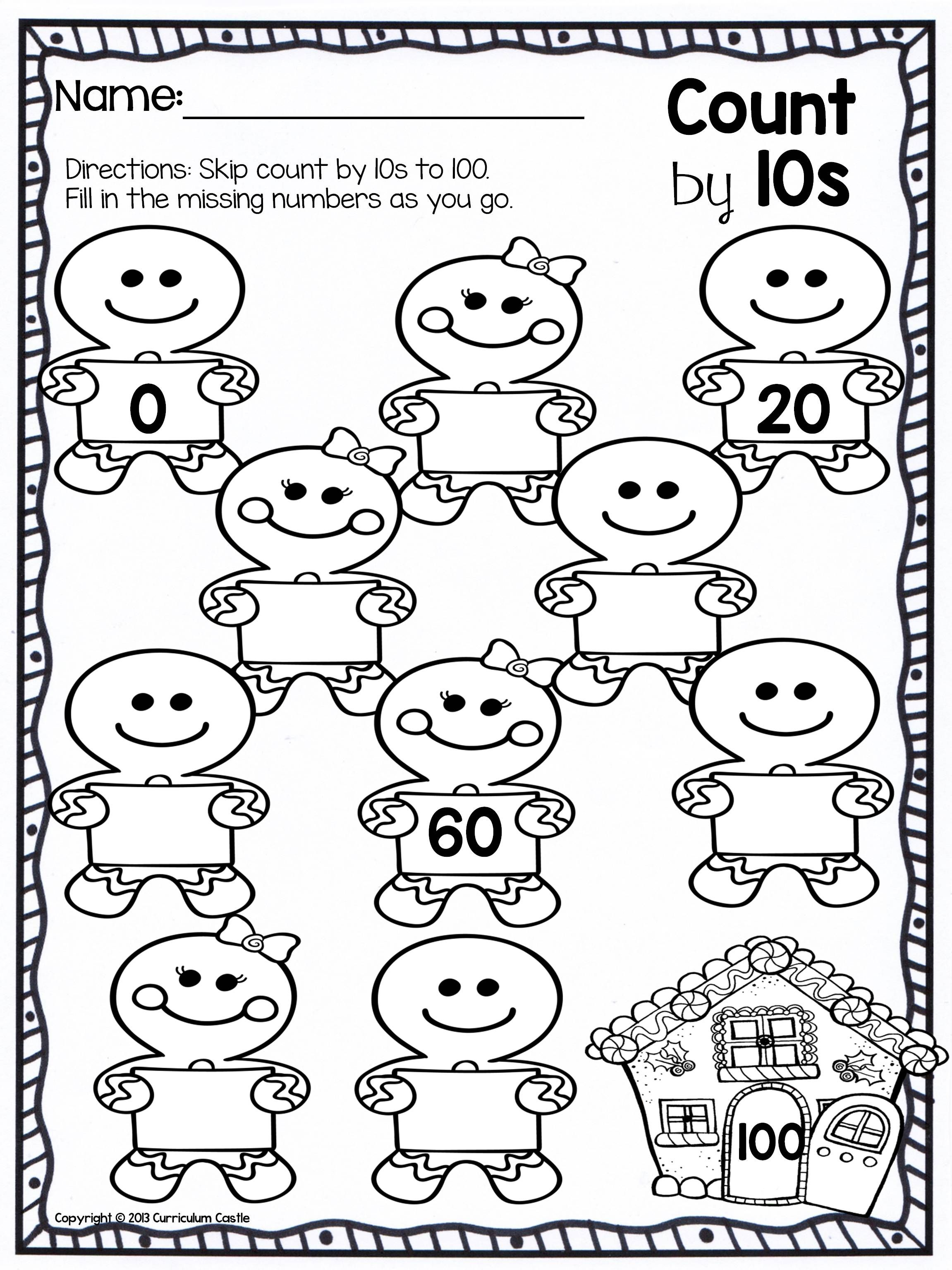 Skip Count By 10s To 100 Freebie Christmas Kindergarten Christmas Math Kindergarten Math