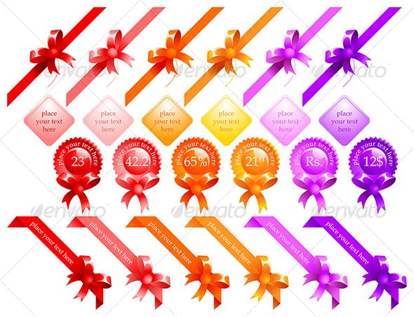 Realistic Graphic DOWNLOAD (.ai, .psd) :: http://sourcecodes.pro/pinterest-itmid-1000047799i.html ... web ribbons ...  clean, decorative, knot, magenta, offer, orange, pink, promotion, red, ribbon, sale, seal, star, violet, yellow  ... Realistic Photo Graphic Print Obejct Business Web Elements Illustration Design Templates ... DOWNLOAD :: http://sourcecodes.pro/pinterest-itmid-1000047799i.html