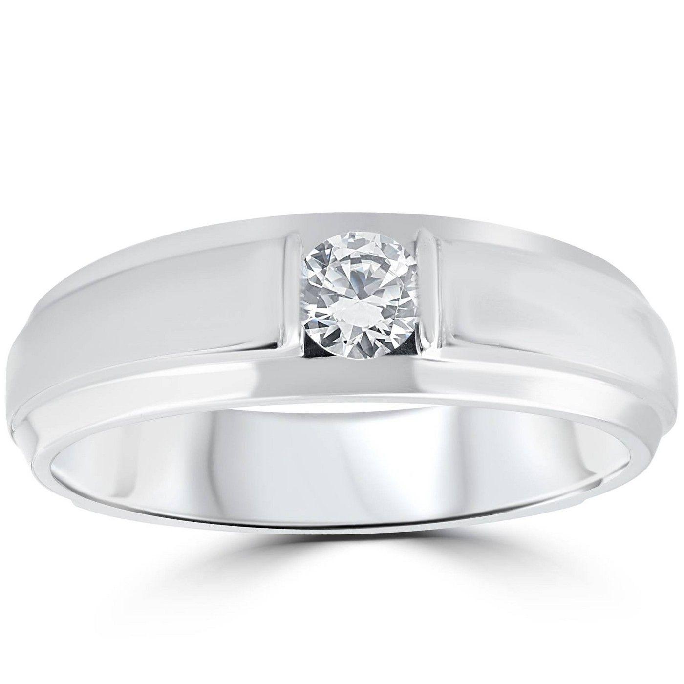 Pompeii3 1 6ct Mens Diamond Solitaire Ring 10k White Gold Diamond Solitaire Rings Men Diamond Ring Mens Rings Wedding Diamond