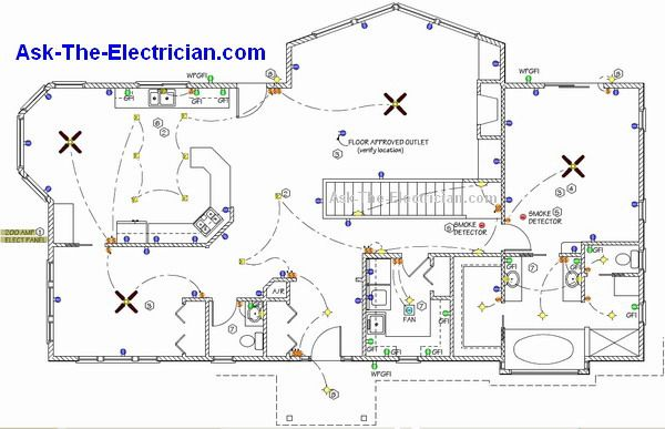 Home electrical wiring diagram blueprint our cabin for Household electrical circuit design