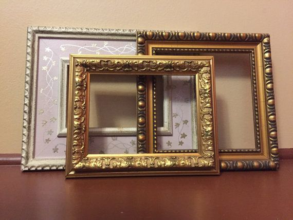 Instant frame collection, salvaged gold frame, gilded frames, three ...