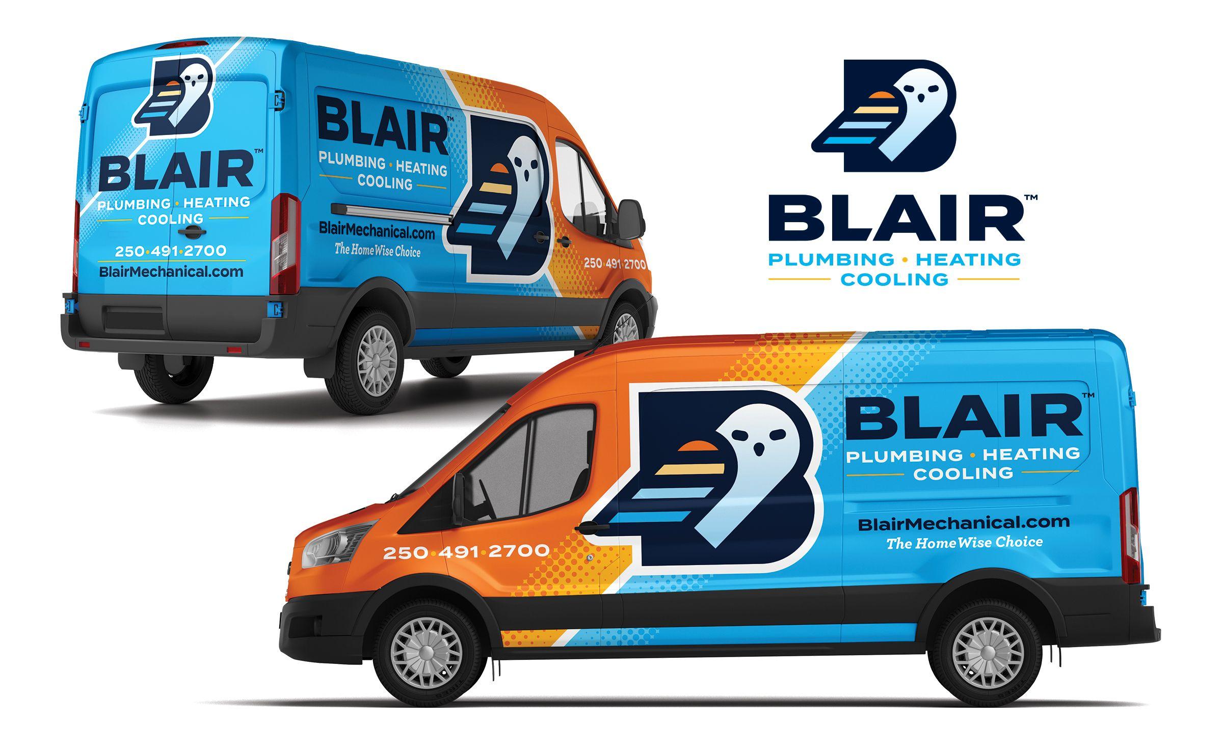 Blair Kickcharge Creative Vehicle Signage Plumbing Logo