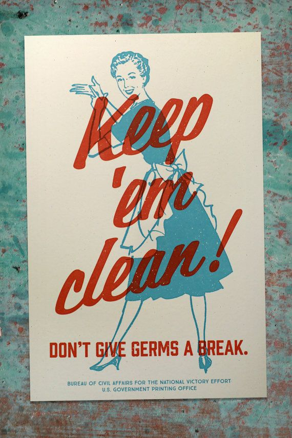 Propaganda Poster Vintage Bathroom Decor Wash Your Hands Wall Art Fallout WW2 Style Home