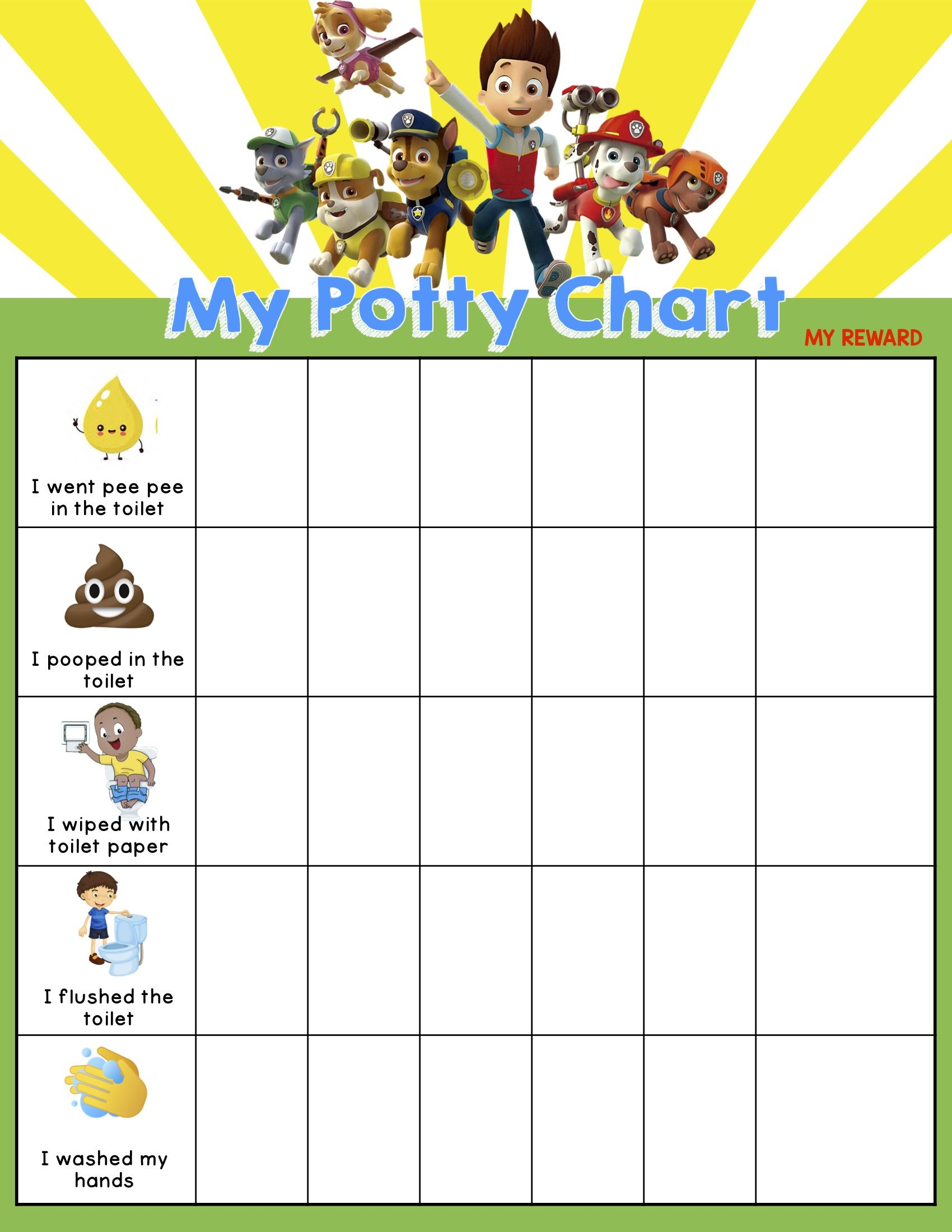 Paw Patrol Sticker Chart For Potty Training In