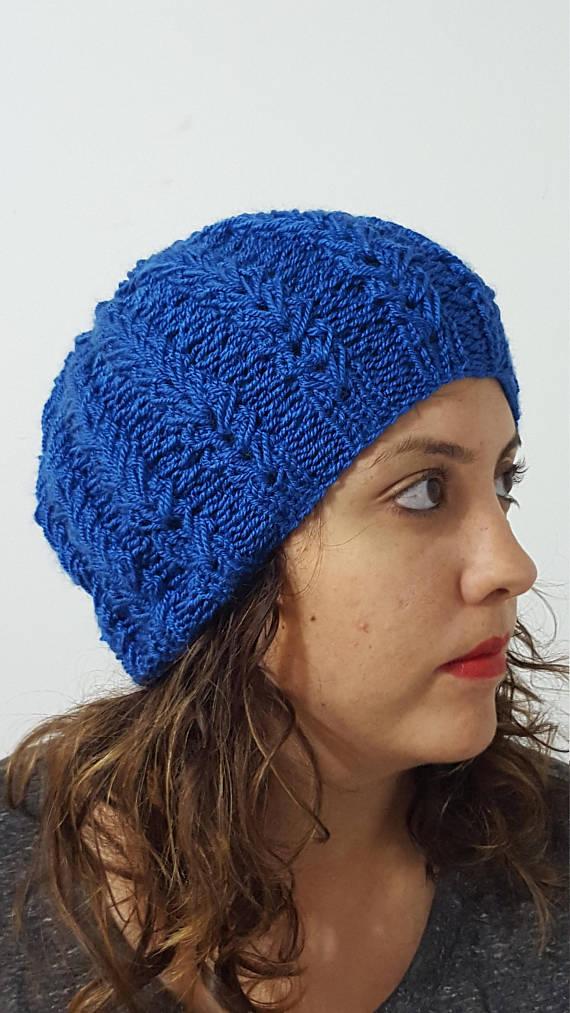 Women s knit blue hat 83e2da1808