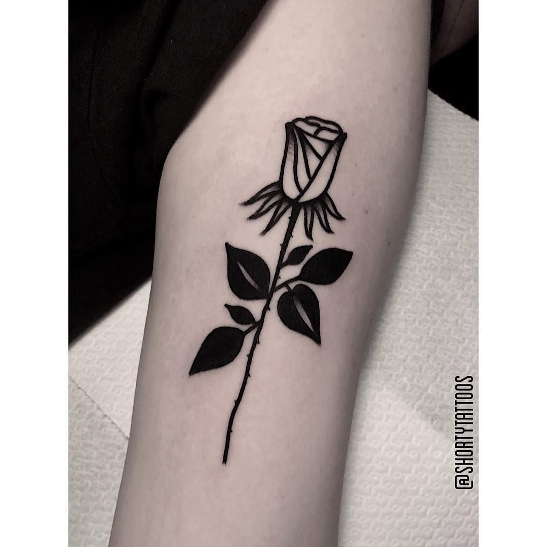 Small Blackwork Rosebud Tattoo Floral Tattoo Botanical Tattoo
