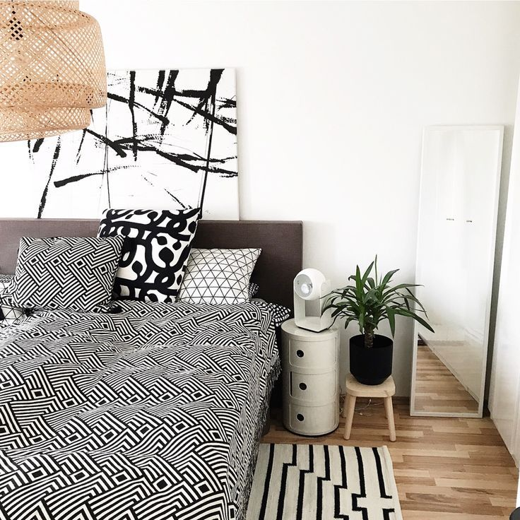 black. and. white. Schwarz weiß dekoration, Schlafzimmer