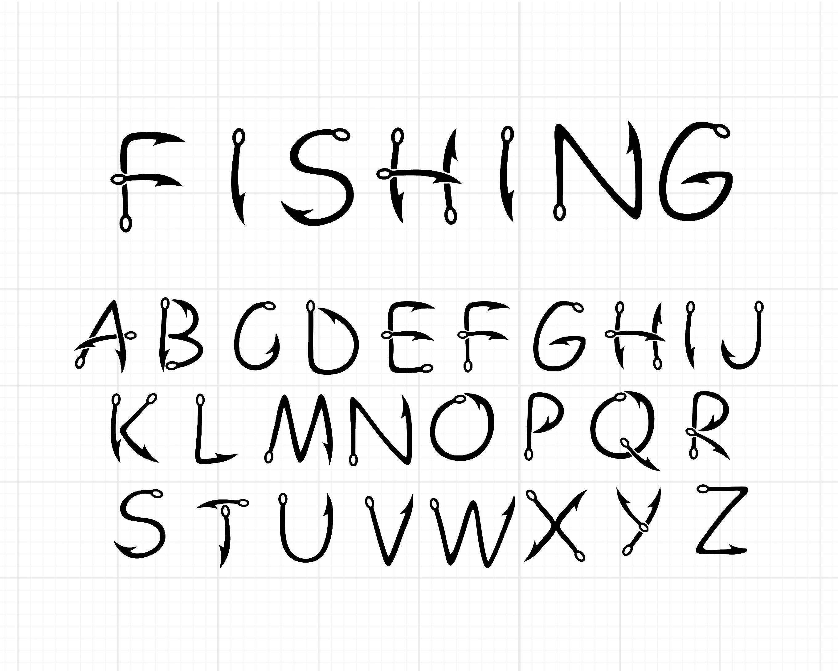 Download Fishing Letters Svg Hook Fishing Alphabet Fish Hook Fishing Svg Font Silhouette Clipart Cricut Craft Supplies Tools Paper Kromasol Com