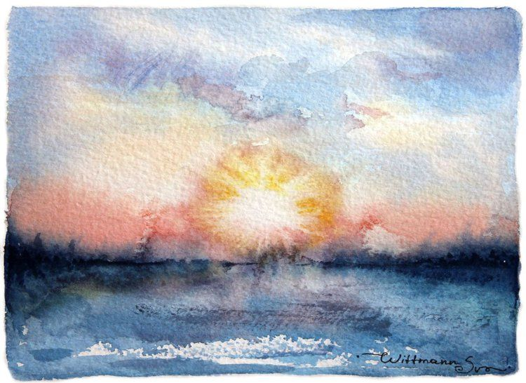 Soft Morning Sunrise Winter Scenery Aquarelle Artwork Yellow