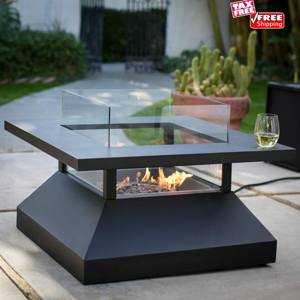 Modern Gas Fire Pit Table Steel Glass Propane Burner Heater Patio Yard Firerlace Moderngasfirepittableredember Fire Pit Table Gas Firepit Fire Pit