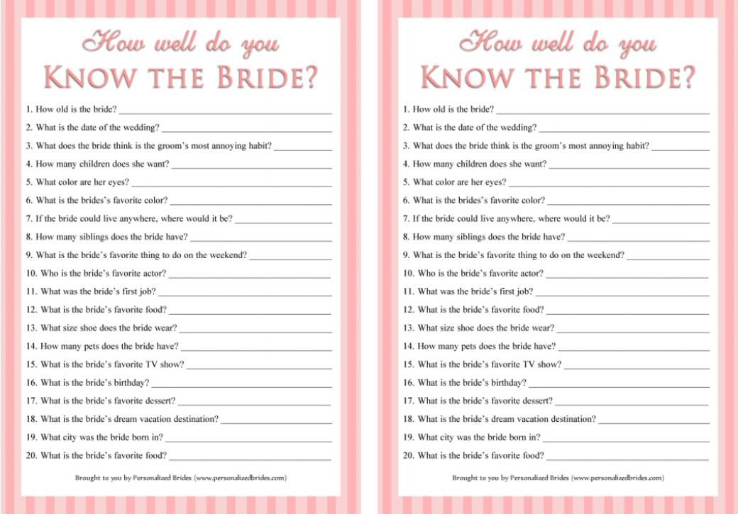 how well do you know the bride questions